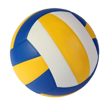dark blue, yellow Volley-ball ball on a white background Stock Photo - 5034970