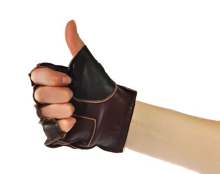 Gestures of hands, a hand is in a leather glove,  photo