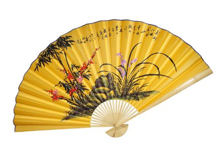 chinese fan: Yellow Chinese fan on a white background