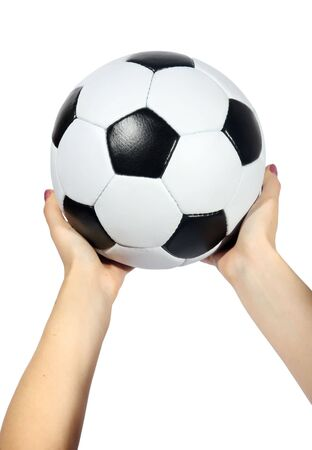 Soccer ball in hands on a white background photo