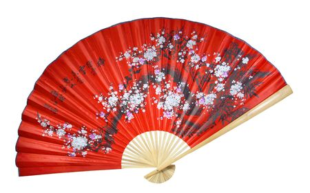 japanese culture: red Chinese fan on a white background