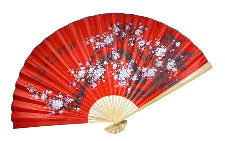 flores chinas: ventilador chino rojo sobre un fondo blanco
