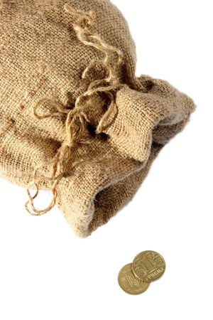 Empty sack, last change, coins on a white background photo