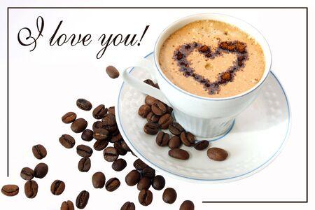 Coffee in a white mug, placard, illustration Stock Illustration - 5085476