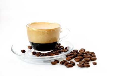 Coffee in a transparent mug on a white background photo