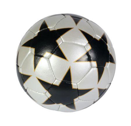 pelota de futbol: negro, plata, pelota de f�tbol de estrellas sobre un fondo blanco Foto de archivo