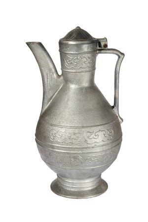 Old grey metallic jug on a white background photo