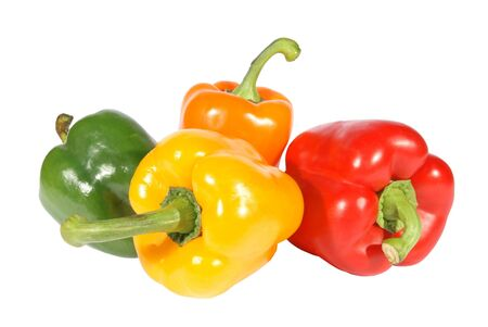 Red yellow orange green pepper on a white background. (isolated) photo
