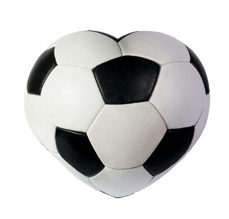 Heart as black white soccer ball on a white background, to the day of Sainted Valentine