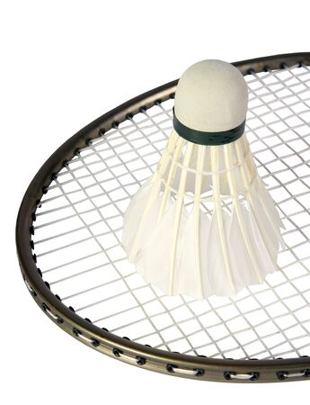 one shuttlecocks on a racket for a badminton on a white background. (isolated)