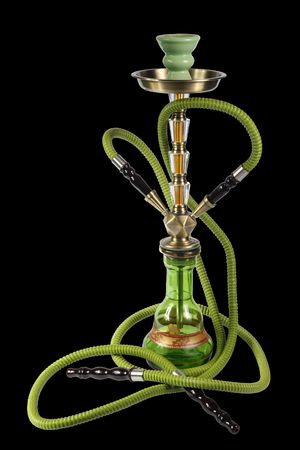 green Hookah on a black background. (isolated) Imagens