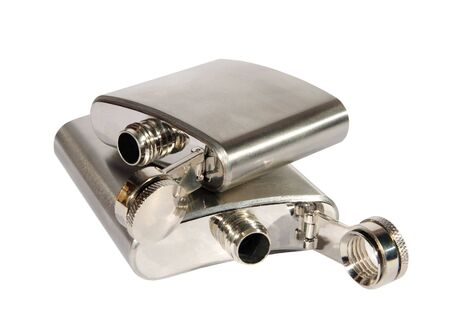 Two metallic flasks on a white background. (isolated) photo