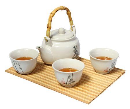 teapots: White Chinese tea set on a white background