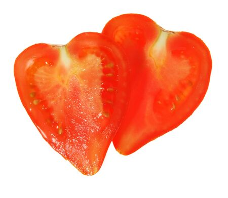 Two tomatoes in view of the heart on a white background. (isolated) photo
