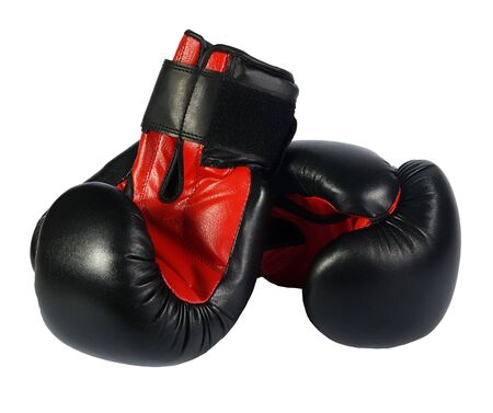 black boxing-gloves on a white background. (isolated) photo