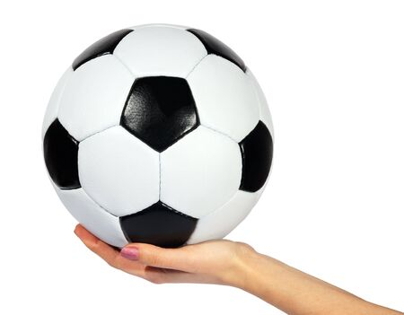 black and white Soccer ball in hands on a white background. (isolated) photo