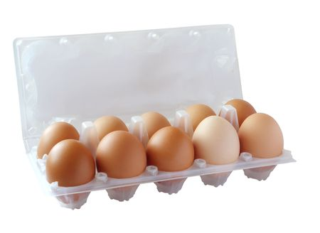 Ten of brown eggs in packing on a white background. (isolated) photo