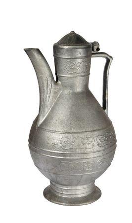 Old grey metallic jug on a white background.  (isolated) photo