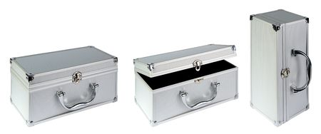 Silvery suitcase on a white background.  (isolated) photo