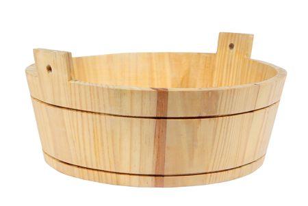 pelvis: Wooden pelvis, basin, tub, vat on a white background