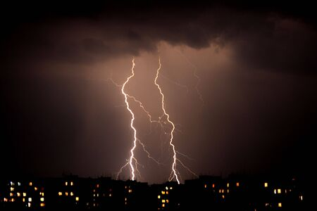 electrifying: Lightning a thunderstorm, nightly cloudy sky Stock Photo