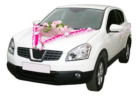 white wedding car on a white background  photo