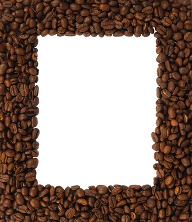 Brown roasted coffee beans isolated on white background. Empty space for your design. photo