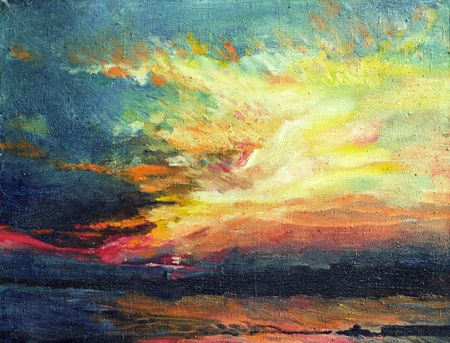 Painting, sunset on the Dnieper  photo
