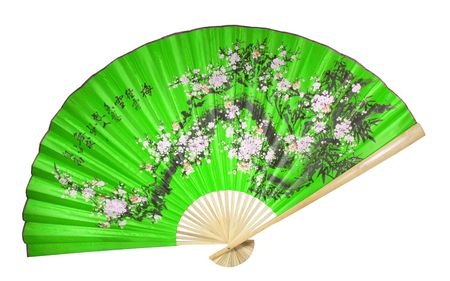paper fan: green Chinese fan on the white background Stock Photo
