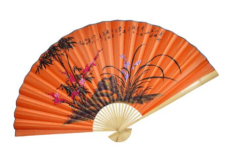 chinese fan: Orange Chinese fan on the white background Stock Photo