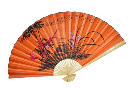 eventail japonais: Orange ventilateur chinois sur le fond blanc