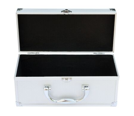 Silvery suitcase on the white background.  (isolated) photo