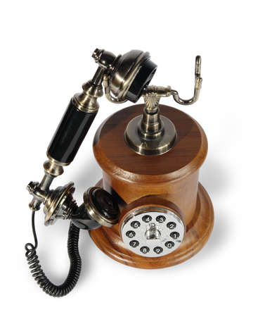Old phone from a tree and metal on the white background. (isolated) Stock Photo - 5568875