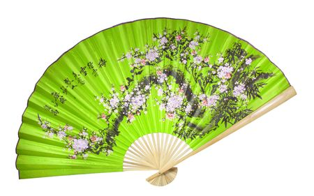 green Chinese fan on the white background. (isolated) Stock Photo