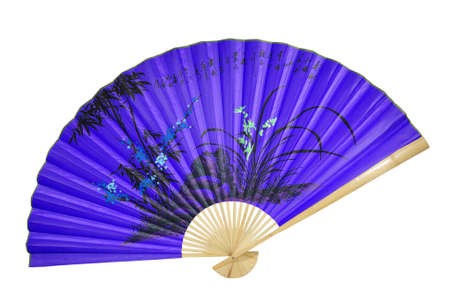 blue Chinese fan on the white background. (isolated) Stock Photo - 5568868