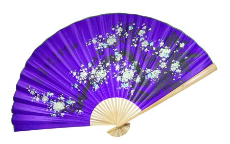 chinese fan: violet Chinese fan on the white background. (isolated)
