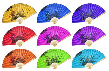 paper fan: Chinese fan on the white background. (isolated)