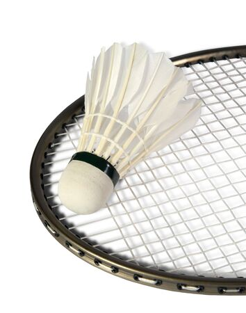 shuttlecock: one shuttlecocks on a racket for a badminton on the white background. (isolated)