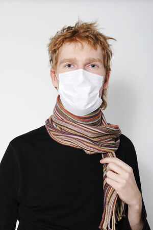 ah1n1: Man with a headache, suffering from flu, A(H1N1)