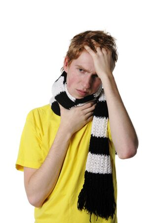 Man with a headache, suffering from flu, A(H1N1) Stock Photo - 5820781