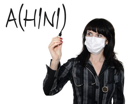 doctor wrote a marker of virus A(H1N1), on the white background photo
