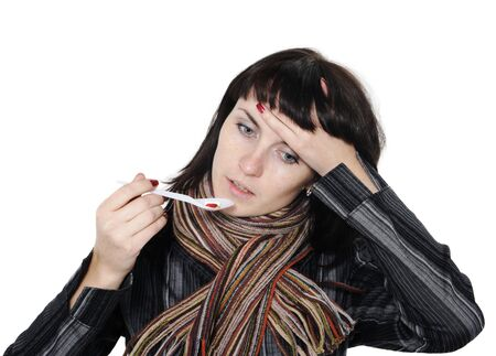 Girl with a headache, suffering from flu, A(H1N1), on the white background photo