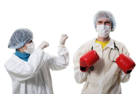 Doctor in red boxing gloves fighting against influenza, A(H1N1) Stock Photo - 5852810