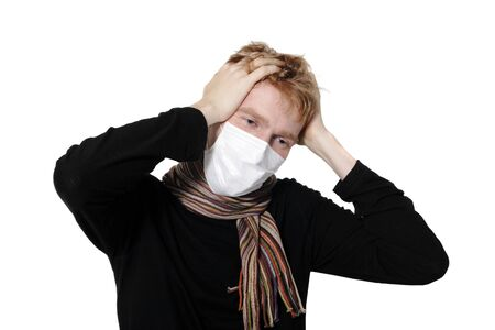 ah1n1: Man with a headache, suffering from flu, A(H1N1), on the white background Stock Photo