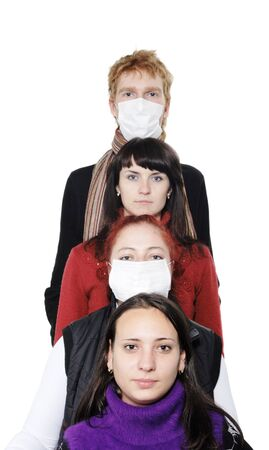 ah1n1: People in masks, ill flu, A(H1N1). Focus is on sick girl. on the white background