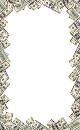 Frame of dollars on white background  photo