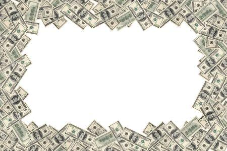 Frame of dollars on white background