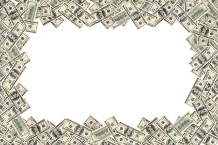 hundred dollar bill: Frame of dollars on white background