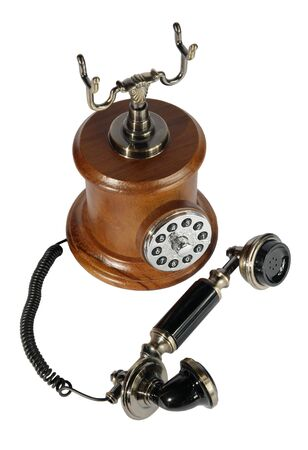 Old phone from a tree and metal on the white background. (isolated) Stock Photo - 6124250
