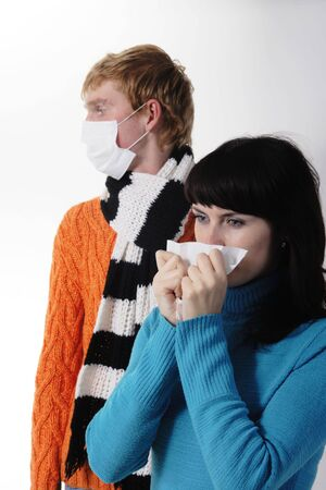 ah1n1: girl was ill of influenza, a man stands behind a mask, said by telephone, A(H1N1)